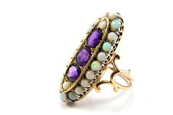 Antique Amethyst Ring, Amethyst Cocktail Ring, Ame