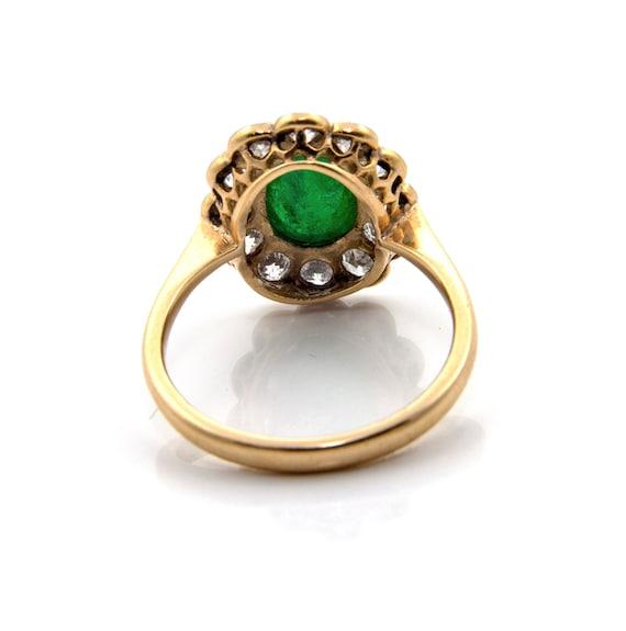 Emerald Diamond Engagement Ring, Emerald Cabochon… - image 5