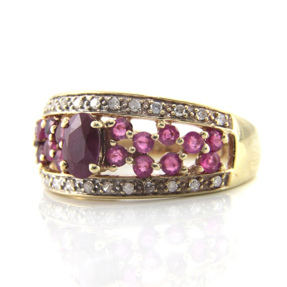 Ruby cluster ring, ruby diamond cluster, ruby diam