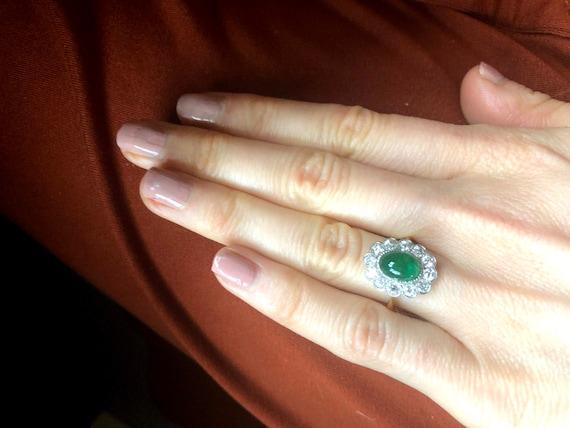 Emerald Diamond Engagement Ring, Emerald Cabochon… - image 6