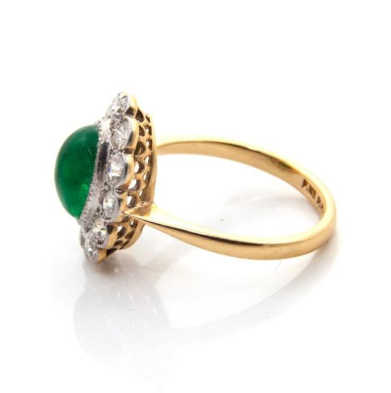 Emerald Diamond Engagement Ring, Emerald Cabochon… - image 4