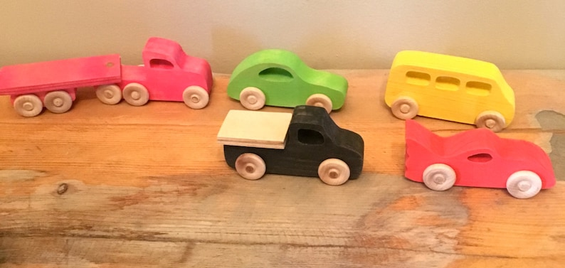 SET of 5 Wooden Toy Cars image 0