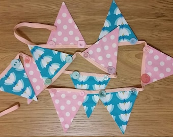 Embellished fabric bunting - pink dots and blue lotus