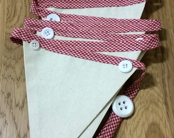 Embellished Fabric Bunting - Calico, Red and White