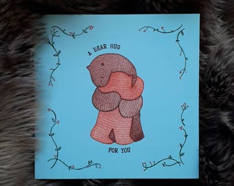 Square card- 'A Bear Hug'
