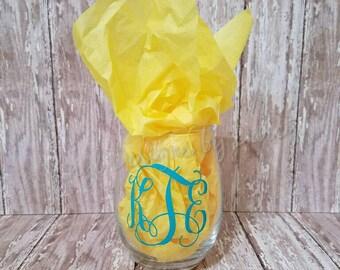 Custom Stemless Wine Glass - Personalized - Legal at Last - 21 birthday gift - monogram