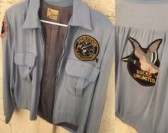"""1950s Vintage Blue """"Compton Hunting and Fishing"""" Jacket Satin Lining Made In California Embroidered Bomber"""