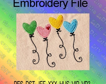 Heart Balloons Machine Embroidery File 4x4