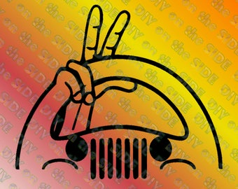 SVG Jeep Wave Peace Fingers Steering Wheel Instant Download
