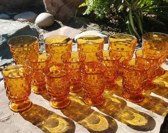 Vintage Amber Indiana Glass Whitehall Design Tumblers/Goblets Five 8oz, Eight 6 oz Glasses/ Juice Glasses