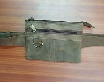 brown  leather hip bag, utility belt, brown  sidebag, , brown leather waist bag, burning man festival belt,