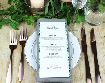 Palm Leaf Wedding Menu Card, Watercolour Palm Leaf Wedding Menu Card, Green Botanical Wedding Menu Card