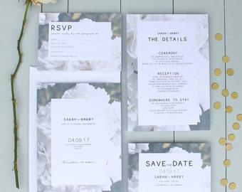 Floral Wedding Invitation, White Rose Wedding Invite, Flower Wedding Invitation Suite