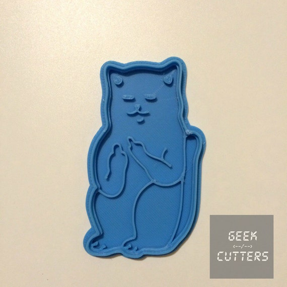 Cat Middle Finger Cat Flip Bird Cookie Cutter  - *Dishwasher safe option* - 3D Printed <-- Mature -->