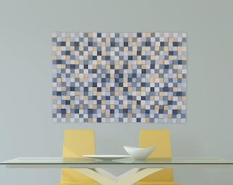Modern wood mosaic, abstract wood wall art in  gray and gold, modern abstract wooden wall art for living room wall decor, wall decor