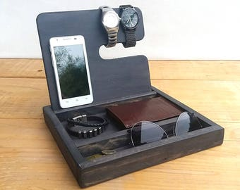 Phone stand, wood phone dock, wooden stand, wooden station, wood watch display, watch organizer, wood catch all, desk tray, boyfriend gift