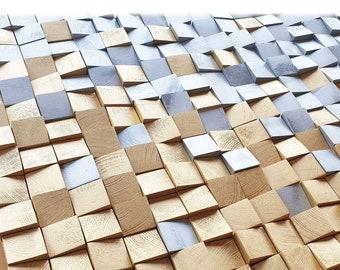 Gold and silver wood wall art, brilliant silver and gold wall decor, wood wall mosaic