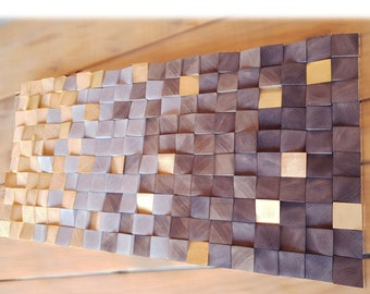Brown and toasted wood wall art for living room decor, wooden wall mosaic for rustic modern decor