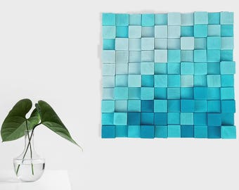 BLUE Wooden wall decor