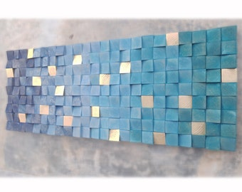 Blue wood wall sculpture for modern house decor, original wood wall art in green and blue degraded with golden touches, wall decor