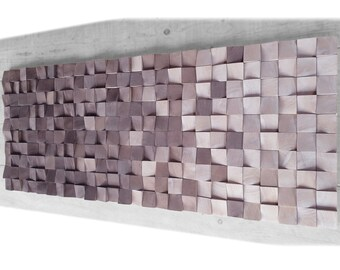 Large wall art, ombre wood wall art for living room decor, wood wall decor,  wood art wall hanging mosaic for rustic decor, wall sculpture