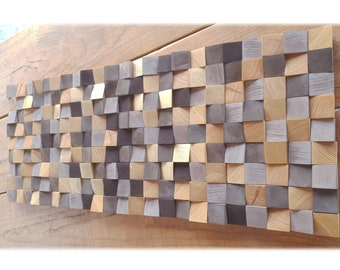 3d block wood wall art, abstract wooden wall decor for modern house, modern wood wall sculpture, brown and gold abstract wall art
