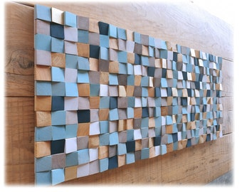 Wood wall art in blue and gold, wall art for living room decor, original wooden wall sculpture, modern wood mosaic for acoustic conditioner
