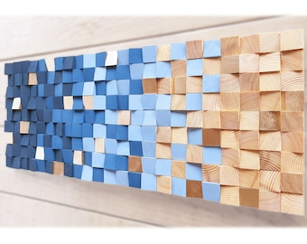 Wood wall art in navy blue and natural wood, wooden wall sculpture for modern decor, wooden art panel, wall decor, geometric wooden wall art