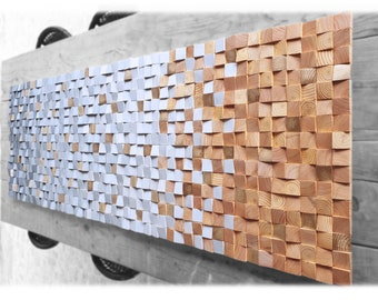 Wooden wall decor, modern wood wall panel in gray and  gold, wall art wood decor sculpture for living room decor