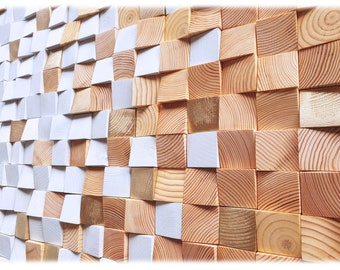 Wood wall art in gray and gold, modern wood mosaic sculpture, 3d wall art decor for living room decor