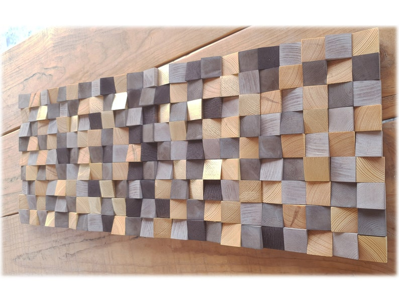 brown and gold abstract wall art modern wood wall mosaic Original wood wall art abstract wood wall decor for modern house