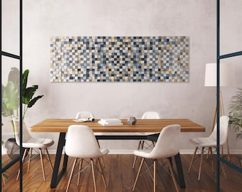 Modern wood wall sculpture with gray and gold, abstract wood wall art for living room decor, sound panel