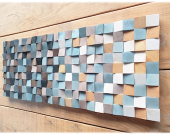 Wood wall art for modern rustic decor, blue and toasted tones, wooden wall decor for living room