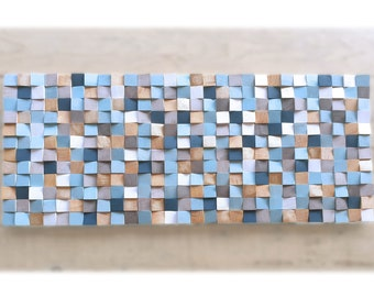 Wall art, blue and gold wood wall art for living room decor, original wooden wall sculpture, modern wood mosaic for acoustic conditioner