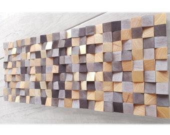 Original wood wall art, abstract wood wall decor for modern house, modern wood wall mosaic, brown and gold abstract wall art