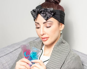 Cooling Headband with Icepacks, Headache Wrap. Migraine Relief, Headache Relief, Hot Flash Relief, Hangover Relief, Fibromyalgia, Gifts