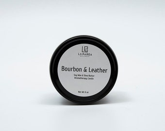 Bourbon & Leather Soy and Shea Aromatherapy Candle, body candles, autumn candles, homemade candles