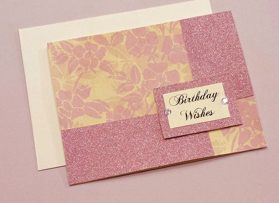Handmade Floral Birthday Card Scrapbook Paper Pink Card Etsy