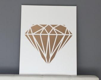 Gold geometric diamond on canvas