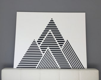 Geometric mountains on canvas in black & white