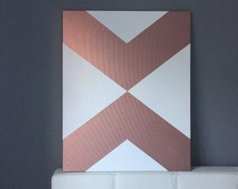 Rose gold, geometric arrows on canvas