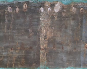 """Painting, mixed media on wood, """"citizens"""""""