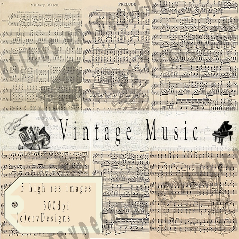 Vintage Music Digital Download | Pocket Letter Cards | ATC 2 5