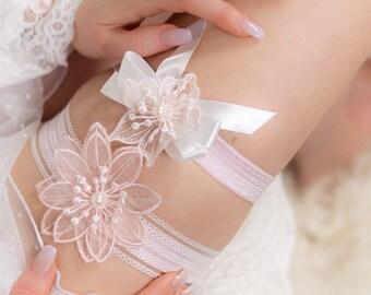 Pink Lace Garter Diamante Garter Wedding Garter White Garter with Pink Bridal Wear Flower Garter Set Shabby Flower Garter Rustic Glam Bridal