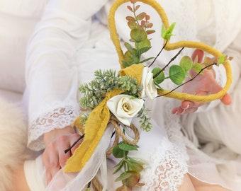 Fairy Garden Wand Custom Flower Wand Wedding Heart Wand Rustic Wall Decor Keepsake Wedding Gift Flower Girl Wand Bouquet Alternative