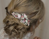 Bridal Hair Comb Rose Gold Wedding Hair Comb Bridal Hair Piece Wedding Hair Accessories Pearl Crystal Hair Comb Bridal Headpiece Floral Pins