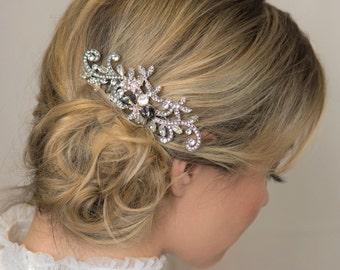 30b3c561b902 Gray Silver Crystal Bridal Hair Piece Prom Hair Comb Bride Headpiece Art  Deco Hairpiece Gray Hair Accessory Gun Metal Comb Wedding Hairpiece