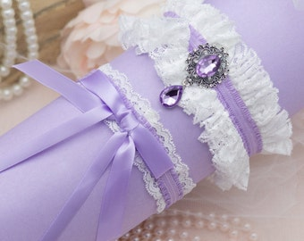 Vintage Garter Light Purple Garter Set Lavender Wedding Garter Set Lilac Garter Set Crystal Pearl Garter Lavender Bridal Garter Set