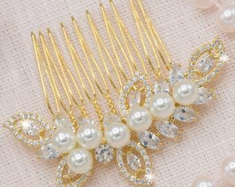 Gold Hair Comb Wedding Bridal Headpieces Vintage Bridal Hairpiece Art Deco Jewelry Pearl Hair Comb Custom Bridal Accessories Luxury Bridal