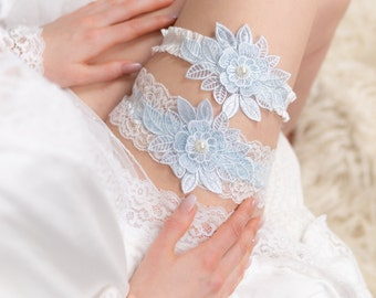 Blue Garter Something Blue for Bride Flower Garter Set Blue Wedding Garter Wedding Garter Blue Sky Blue Garter Bridal Shop Luxury Weddings